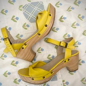 Cordani yellow leather and wood clog sandals